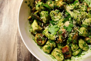 Ricotta Gnocchi and Pesto with Chicken Sausage {recipe}