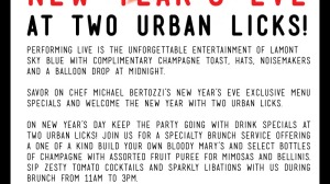 New Year's Eve at TWO Urban Licks